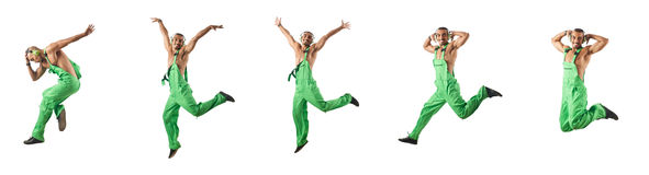 The construction worker jumping and dancing. Construction worker jumping and dancing Royalty Free Stock Image