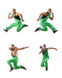 The construction worker jumping and dancing. Construction worker jumping and dancing Stock Image