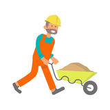Construction worker, laborer. Character construction worker, laborer with cart in flat design. Isolated on white background. Vector illustration eps10 Royalty Free Stock Images
