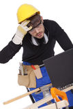 Construction worker with laptop Royalty Free Stock Photos