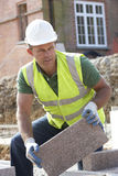 Construction Worker Laying Blockwork Royalty Free Stock Photo