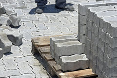 Construction worker laying concrete tiles to pave street Stock Images