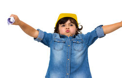 Construction worker little girl Stock Images