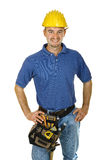 Construction worker looking friendly. Isolated on white Royalty Free Stock Photography