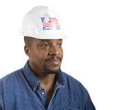 Construction Worker Looking Left Square Royalty Free Stock Photography