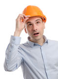 Construction worker looking up Royalty Free Stock Photos