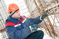Construction worker making carcass Royalty Free Stock Image