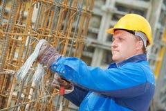 Construction worker making reinforcement stock photo