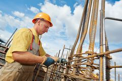 Construction worker making reinforcement Royalty Free Stock Photography