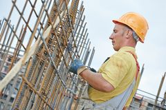 Construction worker making reinforcement Royalty Free Stock Photos