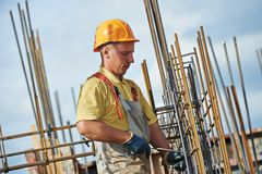 Construction worker making reinforcement Stock Photography