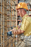 Construction worker making reinforcement Royalty Free Stock Photo