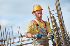 Construction worker making reinforcement Stock Image