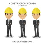 Construction worker male character with different face expressions. On isolated background Royalty Free Stock Photo