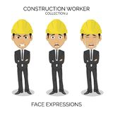 Construction worker male character at work with different face expressions. Construction worker male character with different face expressions on isolated Stock Photos