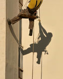 Construction worker 2. A man hanging by ropes in work clothes looking upwards  - and his shadow on the wall. Vertical color photo Stock Photography