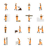 Construction worker man in helmet   on white background. Stock Image