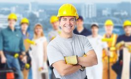 Construction worker man. Smiling Construction worker man. Architecture background royalty free stock photos