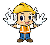 Construction worker mascot is No gestures of both hands. Stock Photos