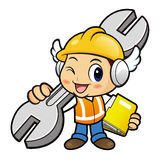 Construction worker mascot is slung the spanner over his shoulde Royalty Free Stock Photos