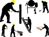 Construction worker mason vector silhouette Stock Images