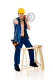 Construction worker megaphone Royalty Free Stock Photography
