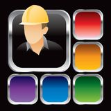 Construction worker multicolored square web button Royalty Free Stock Photos