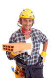 Construction worker offering services Stock Photography