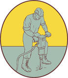 Construction Worker Operating Jackhammer Oval Drawing Royalty Free Stock Images