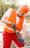 Construction worker in orange waistcoat Royalty Free Stock Photo