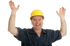 Construction Worker Overjoyed Stock Photo