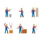 Construction worker people silhouettes icons flat Stock Photo