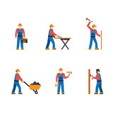 Construction worker people silhouettes icons flat Royalty Free Stock Image