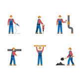 Construction worker people silhouettes icons flat Royalty Free Stock Photography