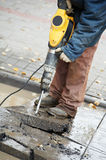 Construction worker with perforator Stock Image