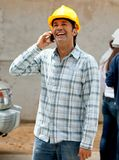 Construction worker on the phone Stock Photos