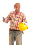 Construction worker at the phone Stock Image