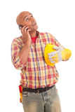 Construction worker at the phone Royalty Free Stock Photos