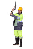 Construction worker. With pick-axe Royalty Free Stock Image