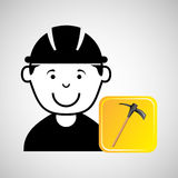 Construction worker pick axe graphic Stock Images