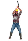 Construction worker with pickaxe Royalty Free Stock Photography
