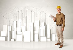 Construction worker planing with 3d buildings in background Stock Photos