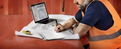 Construction Worker Planning Constructor Developer Concept Royalty Free Stock Photos
