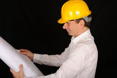 Construction Worker with Plans Royalty Free Stock Image