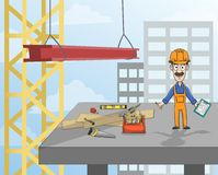Construction worker on platform. Highrise building construction worker with instruments standing on concrete platform vector illustration Stock Image