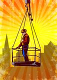 Construction Worker Platform Retro Poster Stock Photography