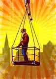 Construction Worker Platform Retro Poster Stock Photography