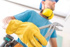 Construction Worker with Plier Stock Photos