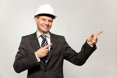Construction worker pointing stock image