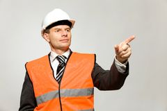 Construction worker pointing Stock Photography